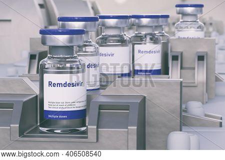 Remdesivir (it's an international non proprietary name) antiviral FDA approved drug for treatment of coronavirus covid-19, 3d illustration