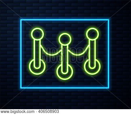 Glowing Neon Line Rope Barrier Icon Isolated On Brick Wall Background. Vip Event, Luxury Celebration