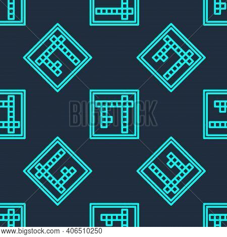 Green Line Bingo Icon Isolated Seamless Pattern On Blue Background. Lottery Tickets For American Bin