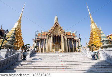 The Beautiful Of Wat Phra Si Rattana Satsadaram Or Wat Phra Kaew Landmark In Bangkok Thailand.
