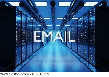 Email Logo In Large Modern Data Center Multiple Rows Of Network Internet Server Racks, 3d Illustrati
