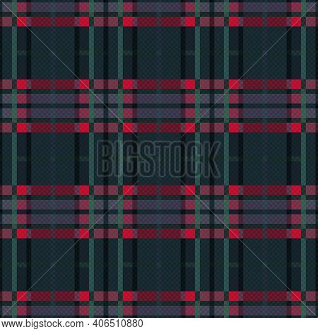 Rectangular Seamless Vector Pattern As A Tartan Plaid Mainly In Dark Green, Red And Violet Hues, Tex
