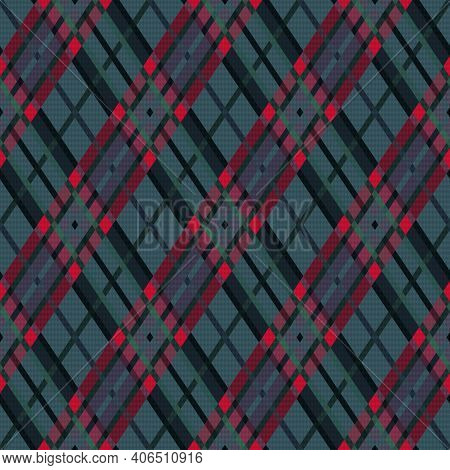 Dark Rhombic Seamless In Muted Green, Red And Gray Hues, Texture For Flannel Shirt, Plaid, Tableclot