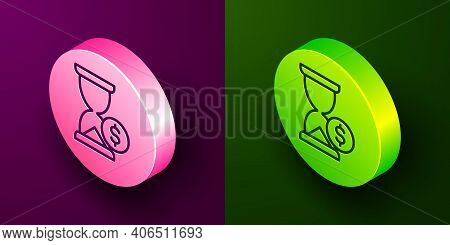 Isometric Line Hourglass With Dollar Icon Isolated On Purple And Green Background. Money Time. Sandg