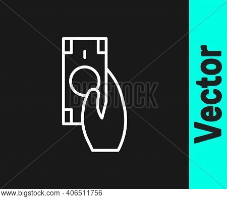 White Line Fast Payments Icon Isolated On Black Background. Fast Money Transfer Payment. Financial S