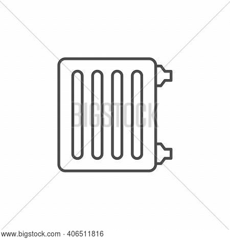 Heating Radiator Line Outline Icon Isolated On White. Vector Illustration