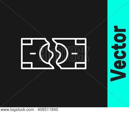 White Line Tearing Apart Money Banknote Into Two Peaces Icon Isolated On Black Background. Vector