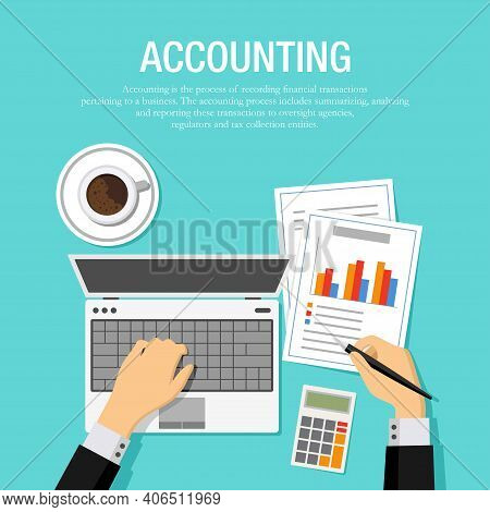 Flat Vector Illustration Of An Accountant Checking Financial Statement With Laptop And Paper. Suitab