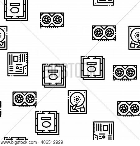 Computer Technology Seamless Pattern Vector Thin Line. Illustrations