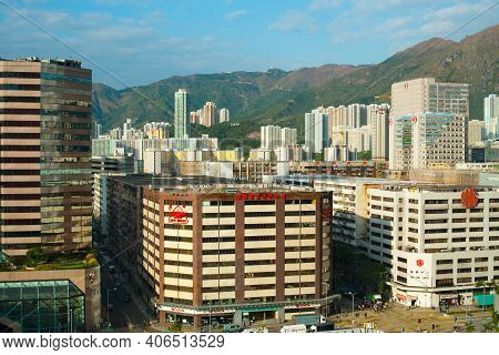 Kowloon Bay, Hong Kong, China, Asia - December 02, 2008: Elevated Cityscape Of Commercial And Reside
