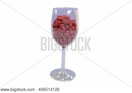 Wine Glass Filled With Hearts, 3d Render