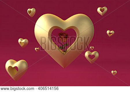 Rose Inside Gold Heart With May Small Hearts, 3d Render
