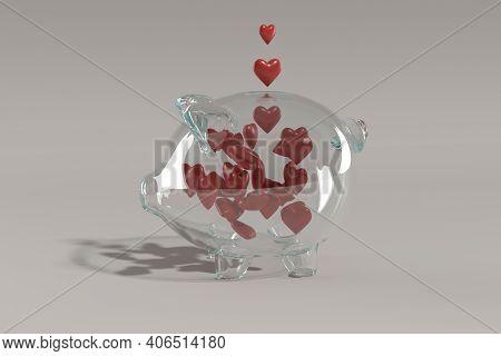 Saving Love In Glass Ping Bank, 3d Render