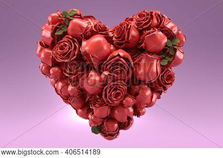 Heart Shaped Rose In Pink Background 3d Render