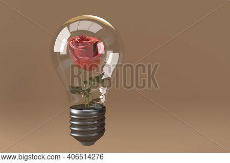 Rose Inside The Light Bulb, 3d Render