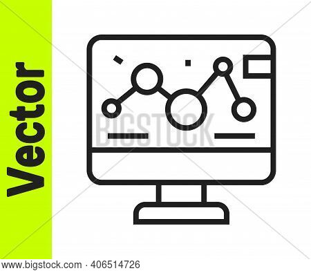Black Line Genetic Engineering Modification On Laptop Icon Isolated On White Background. Dna Analysi