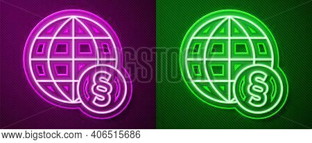 Glowing Neon Line International Law Icon Isolated On Purple And Green Background. Global Law Logo. L