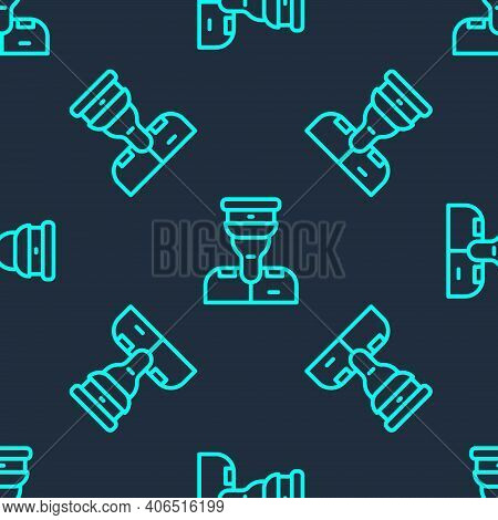 Green Line Train Conductor Icon Isolated Seamless Pattern On Blue Background. Vector