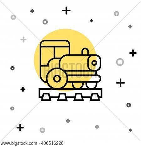 Black Line Vintage Locomotive Icon Isolated On White Background. Steam Locomotive. Random Dynamic Sh