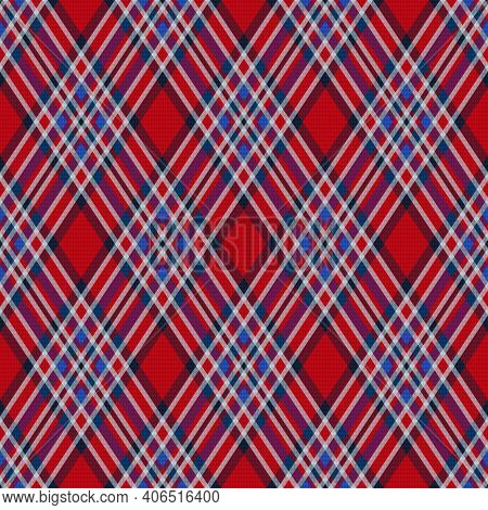 Seamless Rhombic Vector Pattern As A Tartan Plaid Mainly In Red Hues With Transparency Effect, Textu