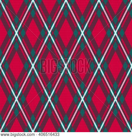 Detailed Rhomb Seamless Vector Pattern As A Tartan Plaid In Muted Red, Magenta And Turquoise Hues, T