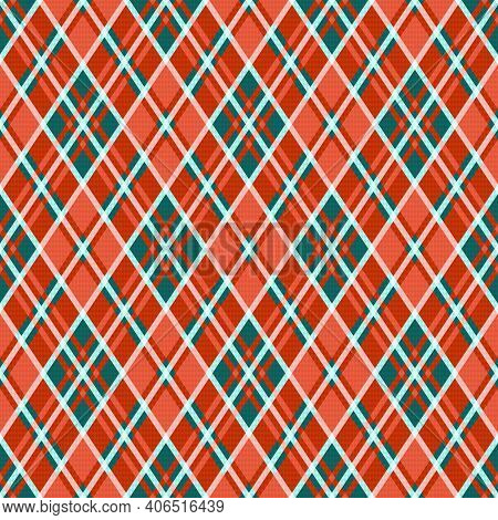 Rhombic Seamless Illustration Pattern As A Tartan Plaid Mainly In Orange And Turquoise, Texture For