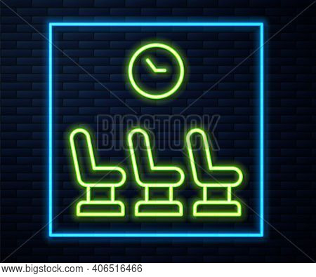 Glowing Neon Line Waiting Room Icon Isolated On Brick Wall Background. Vector