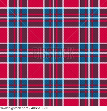 Motley Seamless Rectangular Vector Pattern As A Tartan Plaid In Muted Red, Magenta, Blue And Grey Hu