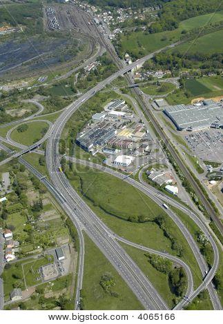Aerial View Of A Junction Motorway  In France