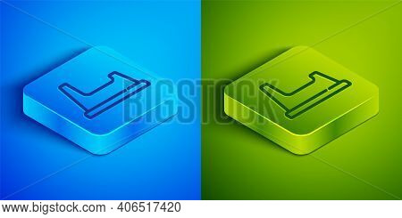 Isometric Line Baby Potty Icon Isolated On Blue And Green Background. Chamber Pot. Square Button. Ve