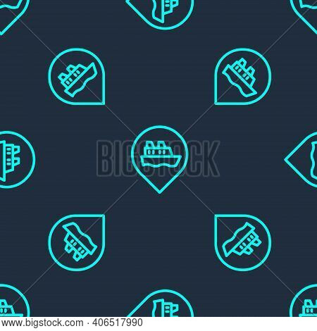 Green Line Location With Cruise Ship Icon Isolated Seamless Pattern On Blue Background. Travel Touri