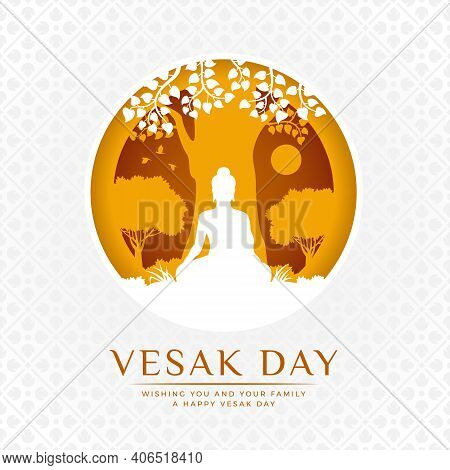 Vesak Day Banner - White And Yellow The Lord Buddha Meditate Under Bodhi Tree In Circle Layer Style