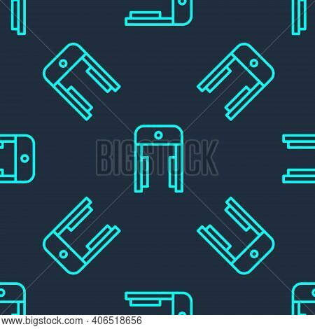 Green Line Metal Detector In Airport Icon Isolated Seamless Pattern On Blue Background. Airport Secu