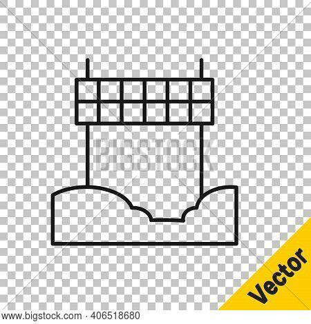 Black Line Ribbon In Finishing Line Icon Isolated On Transparent Background. Symbol Of Finish Line.