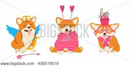 Funny Amour Corgis Set For Valentines Day.
