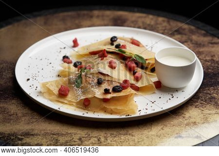 Crepes, Apple Pancake Or Caramelized Apple Crepe With Yoghurt Cream