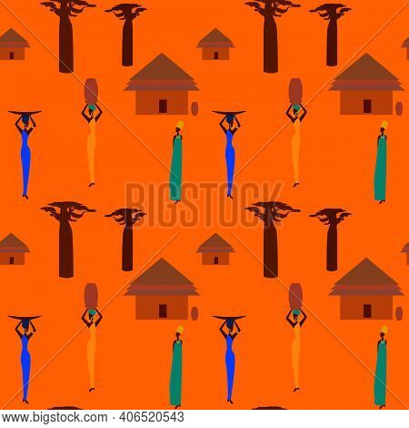 Huts In Africa. Vector Flat Illustration  Huts And..jug, Idea For Design.print On Fabric. Stylized I