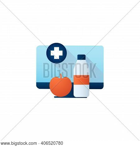 Nutrition Therapy Online Flat Icon. Tele Diet Website, Application. Nutritionist Virtual Consultatio