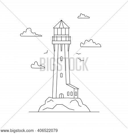 Line Art Vector Of Lighthouse Building With Natural Landscape. Linear Lighthouse Marine And Ocean Th