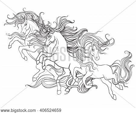 Three Running Unicorns With A Long Manes. Vector Black And White Contour Illustration For Coloring P