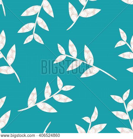 Mono Print Style Scattered Leaf Stems Seamless Vector Pattern Background. Lino Cut Effect Textured S