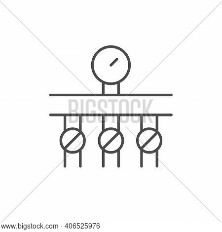 Heating Collector Line Outline Icon Isolated On White. Vector Illustration