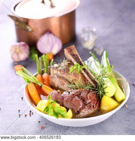pot au feu- beef, broth and vegetable