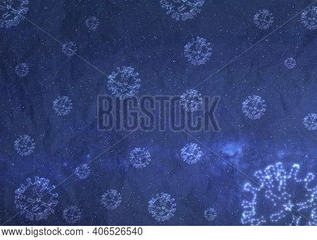Covid Constellations Stars On The Night Sky In Space. Covid Virus Texture On Blue Bacground. Element