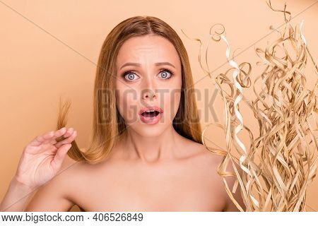 Close-up View Portrait Of Her She Nice Attractive Lovely Nervous Nude Naked Girl Holding In Hand Spl