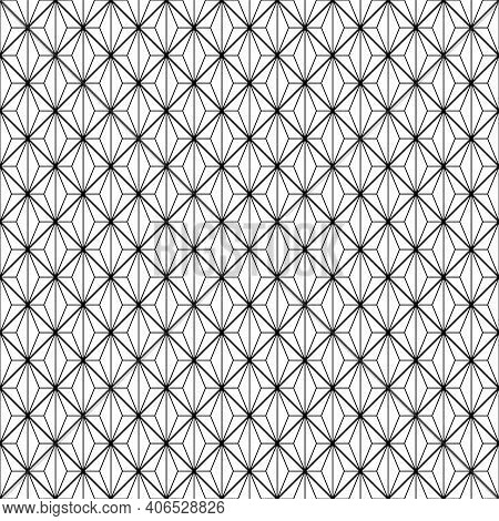 Japanese Seamless Kumiko Pattern In Black Color With Average And Fine Thickness Lines.