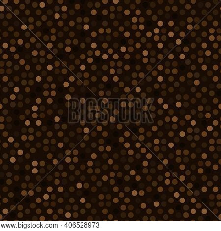 Abstract Seamless Pattern With Brown Colored Chaotic Circles On Dark