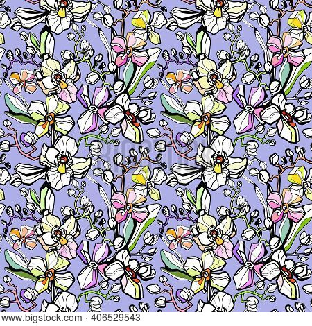 Trendy Floral Pattern In The Many Kind Of Flowers. Seamless Pattern, Background With Tropical Plants