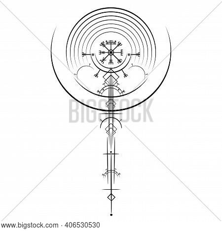 Vegvisir Magic Navigation Compass Ancient. The Vikings Used Many Symbols In Accordance To Norse Myth