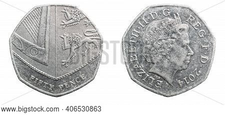 Fifty Pence Coin Isolated On White Background
